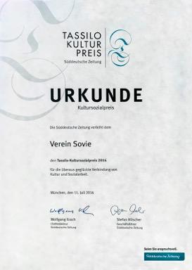 Die Süddeutschen Zeitung verleiht SOVIE e.V. den Tassilo-Kultursozialpreis 2016